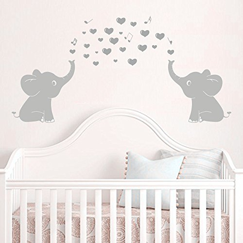 Elephant Twin Nursery Wall Art Nursery Room Decor For Twins: Elephant Family Wall Decal With Hearts Music Quote Art